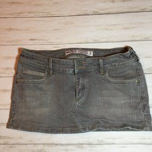 NEW Hollister Gray Denim Super Short Mini Skirt 3